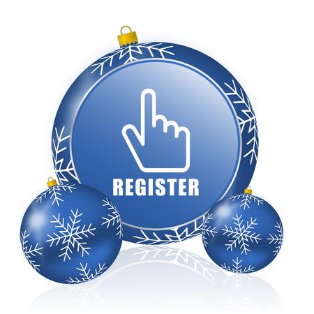 Register blue christmas balls icon