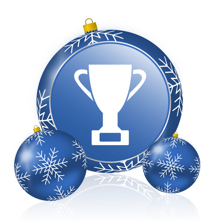 Cup blue christmas balls icon