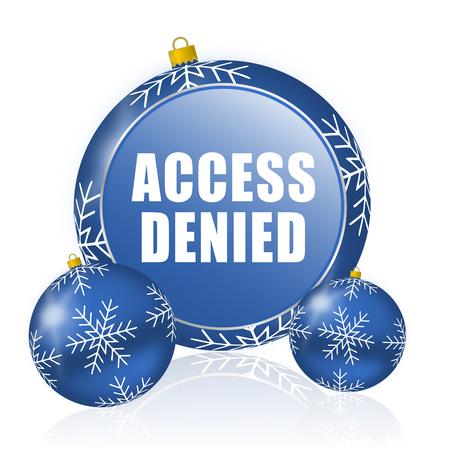 Access denied blue christmas balls icon