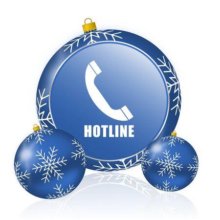 Hotline blue christmas balls icon Stock Photo