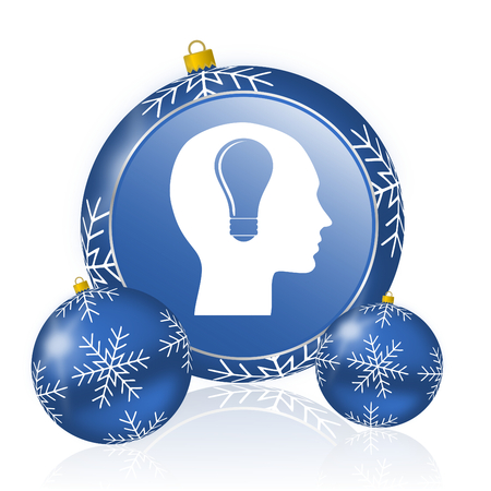 Head blue christmas balls icon