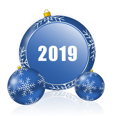 New year 2019 blue christmas balls icon