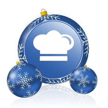 Cook blue christmas balls icon