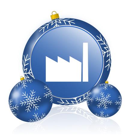 Factory blue christmas balls icon Stock Photo