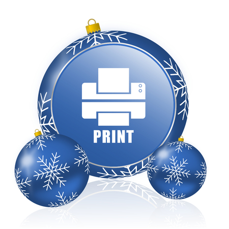 Printer blue christmas balls icon