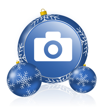 Camera blue christmas balls icon