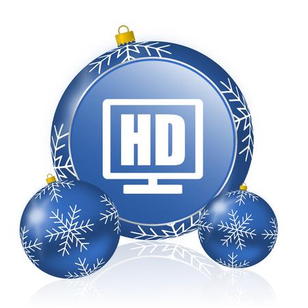 Hd display blue christmas balls icon Stock Photo