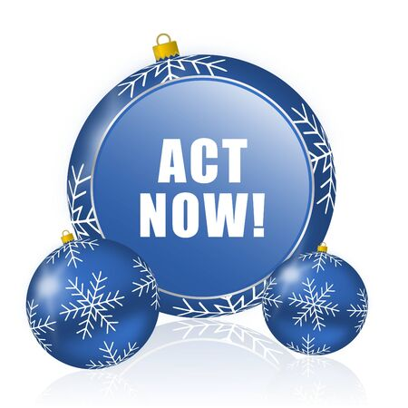 Act now blue christmas balls icon
