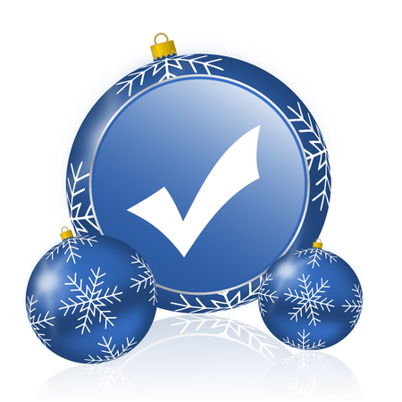 Accept blue christmas balls icon Stock Photo