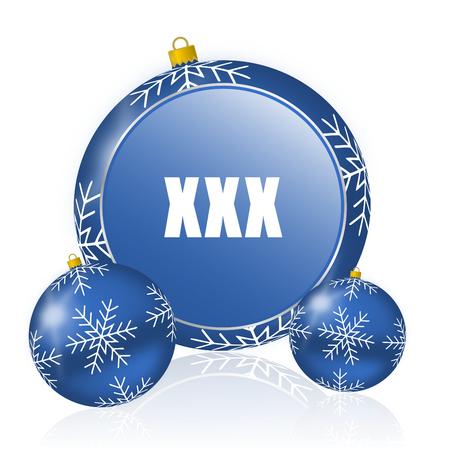 XXX blue christmas balls icon Stock Photo