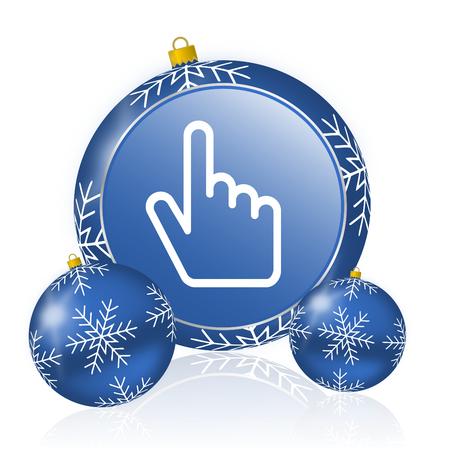 Cursor hand blue christmas balls icon
