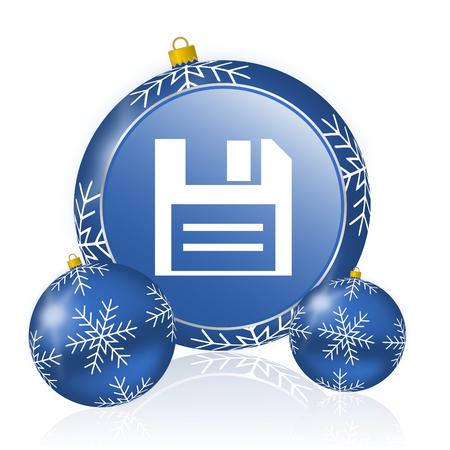Disk blue christmas balls icon Stock Photo