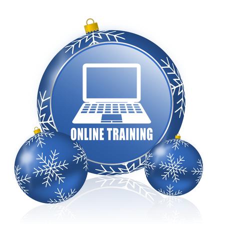 Online training blue christmas balls icon