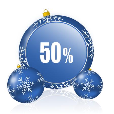 50 percent blue christmas balls icon