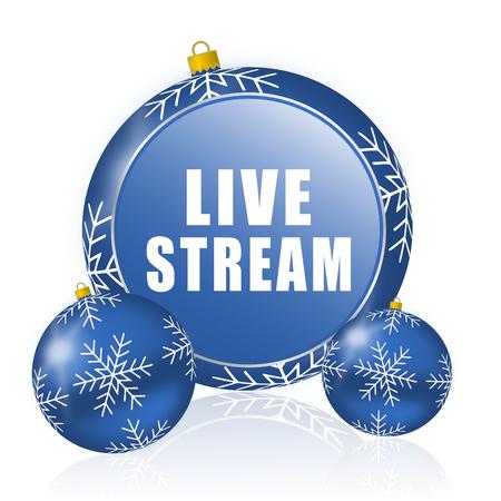 Live stream blue christmas balls icon