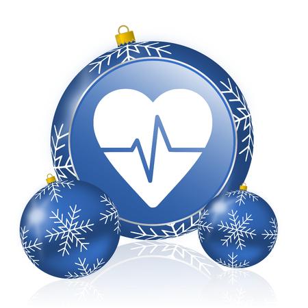Pulse blue christmas balls icon