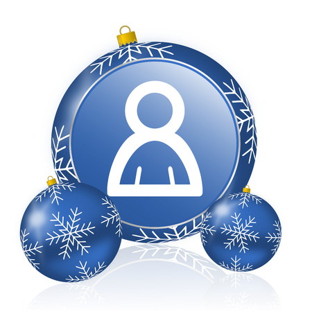Person blue christmas balls icon
