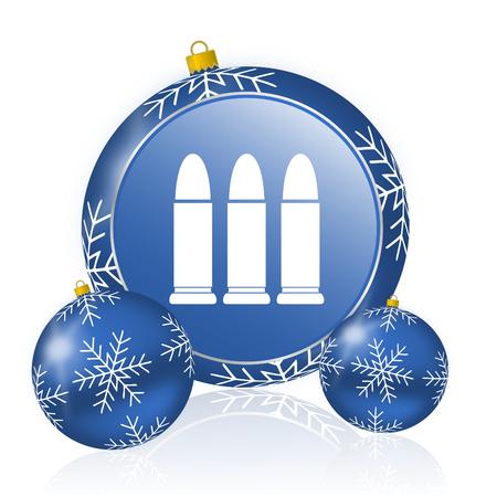 Ammunition blue christmas balls icon Stock Photo