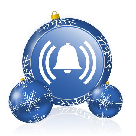 Alarm blue christmas balls icon