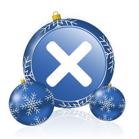 Cancel blue christmas balls icon