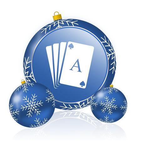 Card blue christmas balls icon