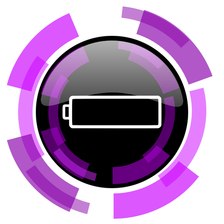 Battery pink violet modern design vector web and smartphone icon. Stock Photo
