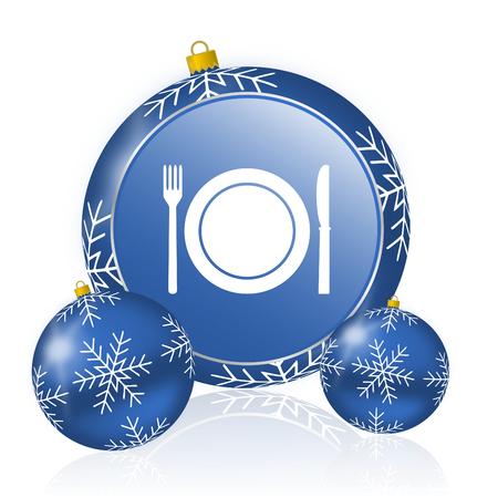 Restaurant blue christmas balls icon Stock Photo