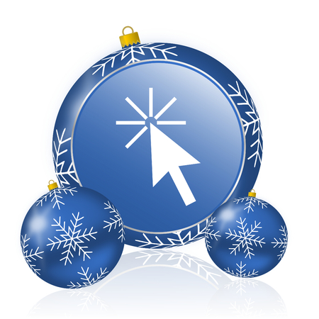 Click here blue christmas balls icon