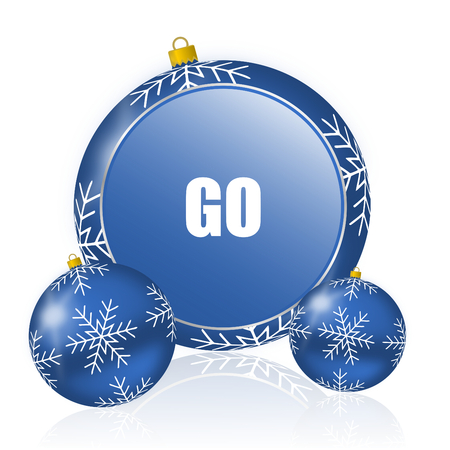 Go blue christmas balls icon