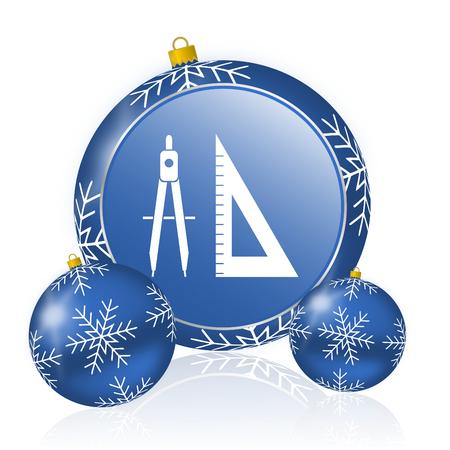 Learning blue christmas balls icon Stock Photo - 91199369