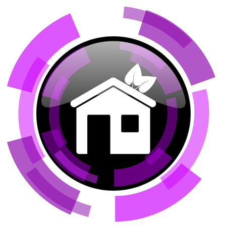 House pink violet modern design vector web and smartphone icon.