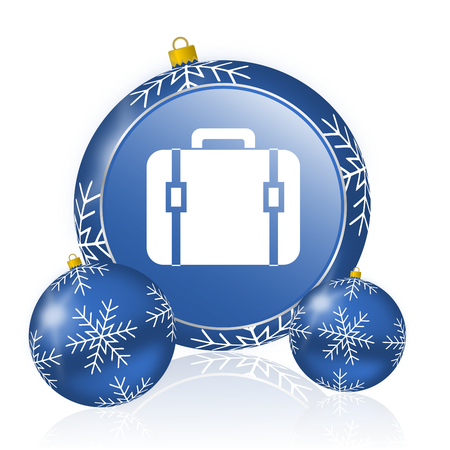 Bag blue christmas balls icon Stock Photo