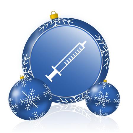 Medicine blue christmas balls icon Stock Photo