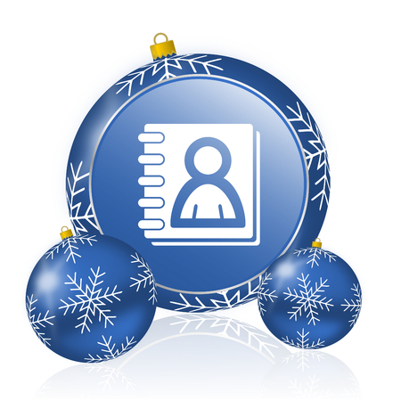 Address book blue christmas balls icon