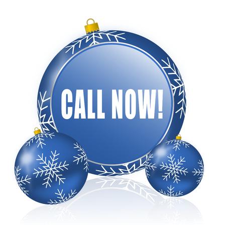 Call now blue christmas balls icon