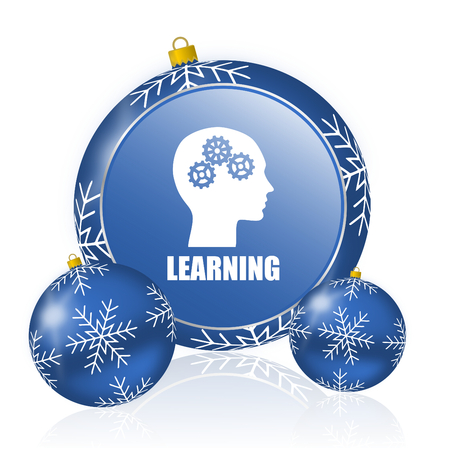 Learning blue christmas balls icon Banque d'images