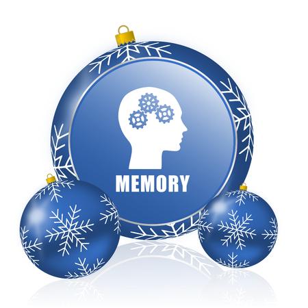 Mémoire boules de noël bleu icône Banque d'images - 91199900