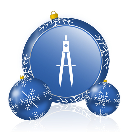 Learning blue christmas balls icon Stock Photo