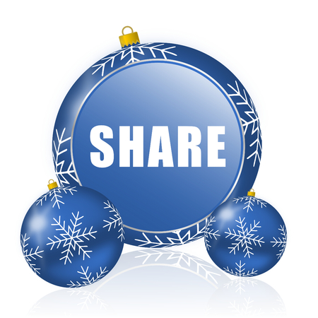 Share blue christmas balls icon Stock Photo