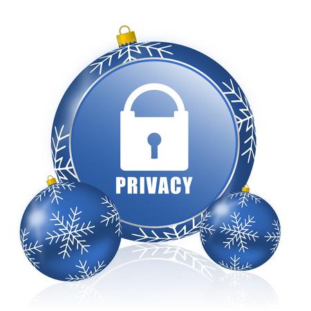 Privacy blue christmas balls icon