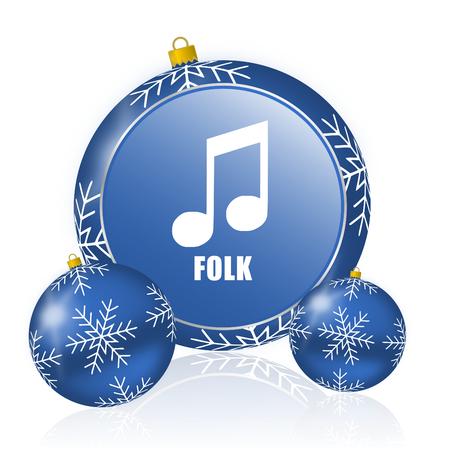 Folk music blue christmas balls icon