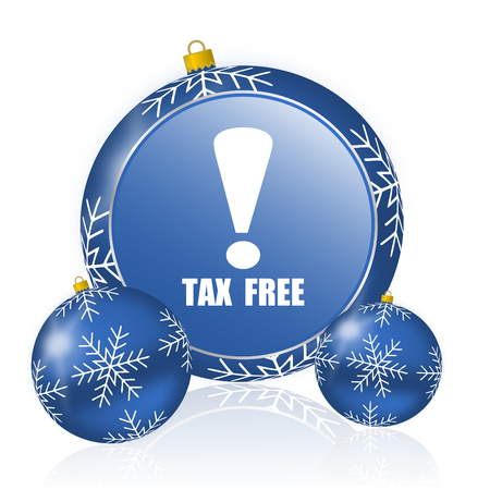 Tax free blue christmas balls icon Stock Photo