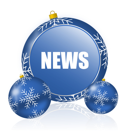 News blue christmas balls icon Stock Photo