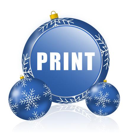Print blue christmas balls icon Stock Photo