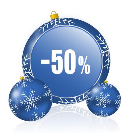 50 percent sale retail blue christmas balls icon Banque d'images