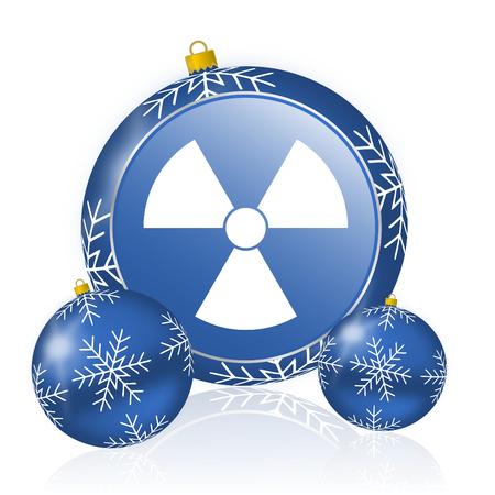 Radiation blue christmas balls icon