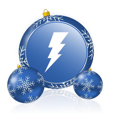 Bolt blue christmas balls icon Stock Photo