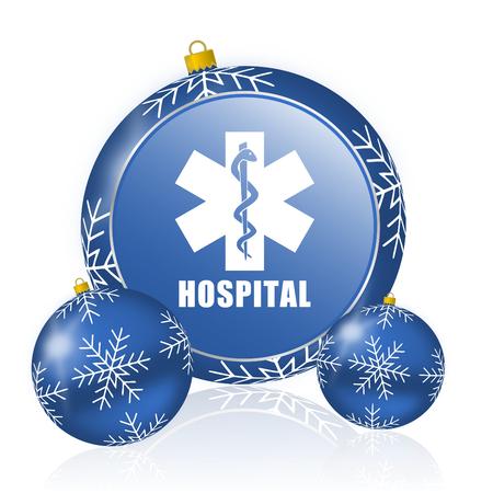 Hospital blue christmas balls icon Stock Photo