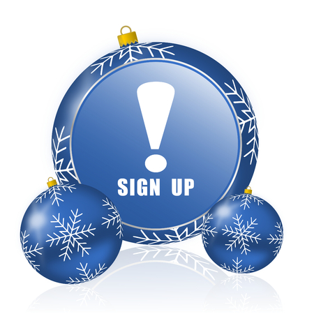 Sign up blue christmas balls icon