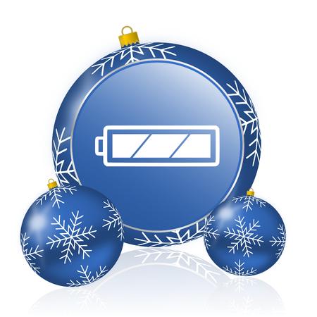 Battery blue christmas balls icon